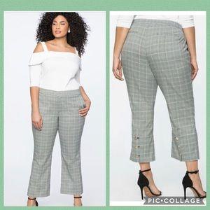 🚫SOLD🚫ELOQUII• plaid button vent crop trousers